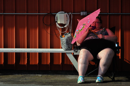 A woman waits to see a doctor at the Rural Area Medical event in Wise, VA.