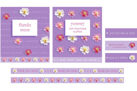 Seasonal graphics for Mother's Day for a range of toiletries, confectionary, plush and promotional decor.