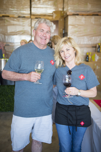 Rodney & Gayla Schatz owners of Peltier Winery greet guests attending the Lodi Wine and Chocolate festival at their new tasting room in Acampo, Ca. Dario Leventini / Lodi New Sentinel