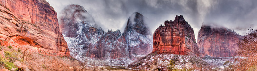 The clouds part after a winter snowstorm at the Great White Throne in southern Utah's famed Zion National Park.