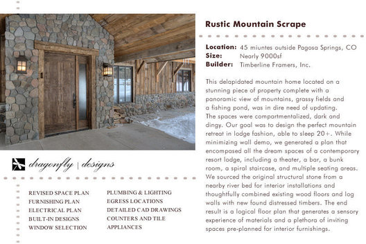 This delapidated mountain home located on a stunning piece of property was dark and compartmentalized. Our goal was to design the perfect mountain retreat in lodge style, able to sleep 20 . While minimizing wall demo, we were able to incorporate charming spaces such as a sports bar, a theater, a spiral staircase, two master suites, a bunk room and a butler's pantry. We sourced the original structural stone from a nearby river for interior installations and thoughtfully combined existing wood floors and log walls with newfound distressed timbers. The result is a logical floorplan that generates a sensory experience of materials, unique lighting and a plethora of inviting spaces - pre planned for interior furnishings.