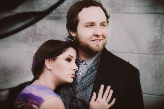 Engagement portrait, taken on location at River Arts District, in Asheville, Nc.  Photo by Jeff Haffner Photography