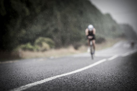 Lonely ride in the rain during Ironman