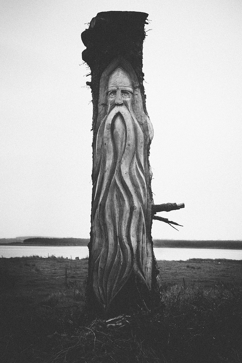 Viking carving along the Wild Atlantic Way, Carrig Island, Ireland, European road trip. Black and white image sculpture in nature next to the beach.
