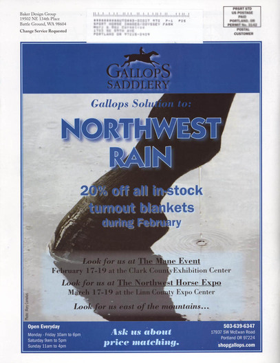 One of my stock images used in Gallops Saddlery ad