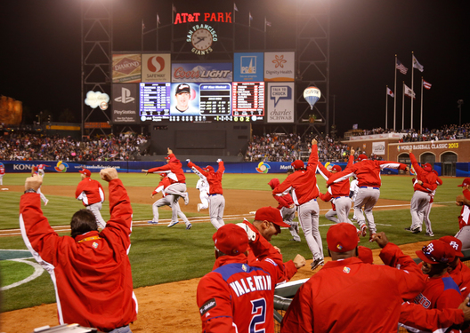 Puerto Rico players celebrate after defeating Japan in their semi-final World Baseball Classic game in San Francisco, California, March 17, 2013