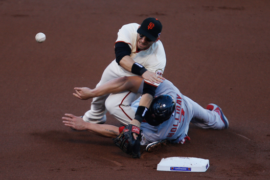 St. Louis Cardinals' Matt Holliday slides into San Francisco Giants second baseman Marco Scutaro during the first inning of Game 2 of their MLB NLCS playoff baseball series in San Francisco, October 15, 2012.