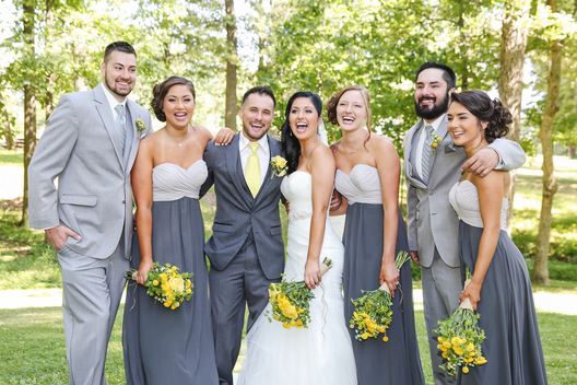 bridal party of seven people