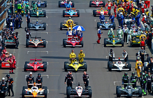 Indianapolis, IN - May 29: The starting line-up moves on to the grid for the 2011 Indianapolis 500 Mile Race on May 29, 2011 at Indianapolis Motor Speedway in Indianapolis, Indiana.