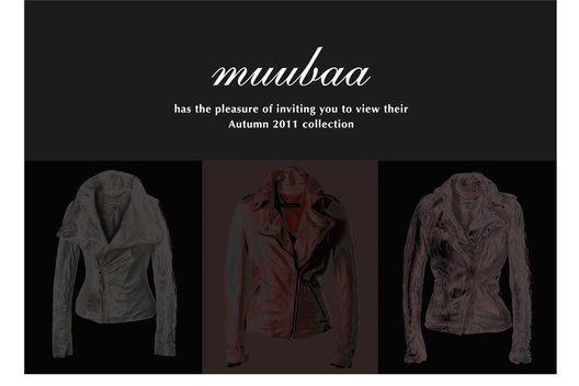 Invitation to fashion show for a fashion house specialising in leather clothing.