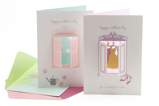 A range of embellished Mother's Day greeting cards.