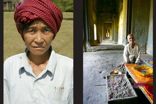 Woman spend their days begging outside of the ancient temple ruins of Angkor Wat
