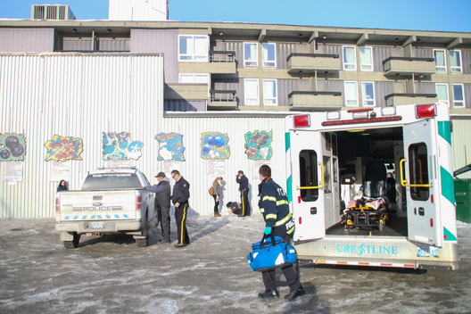 Paramedics respond to a call of a street person suffering from alcohol poisoning in the Centre Square Mall parking lot, a popular hangout for the city's street people. Yellowknife saw a nine per cent increase in ambulance calls in 2016, something which city officials attributed to the fact that RCMP stopped picking up intoxicated homeless people in the summer of 2015. The rise in calls in 2016 followed a 28.4 per cent between 2014 and 2015.