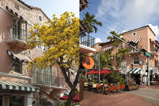 Espaola Way Blooming Tabebuia (Pooey) South Beach Deco Mediterranean Architecture