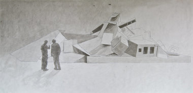 I've been interested in razed buildings for some time and have a large database of images of razed buildings, both small and large, from many years. This is a conception drawing of re-building the detritus of a razed building as a work in itself, at scale