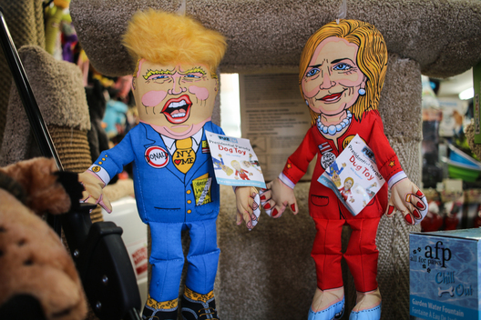 New York, New York/October 5, 2016 - Chew toys of Donald Trump and Hilary Clinton hang in the window of a pet store in Soho.