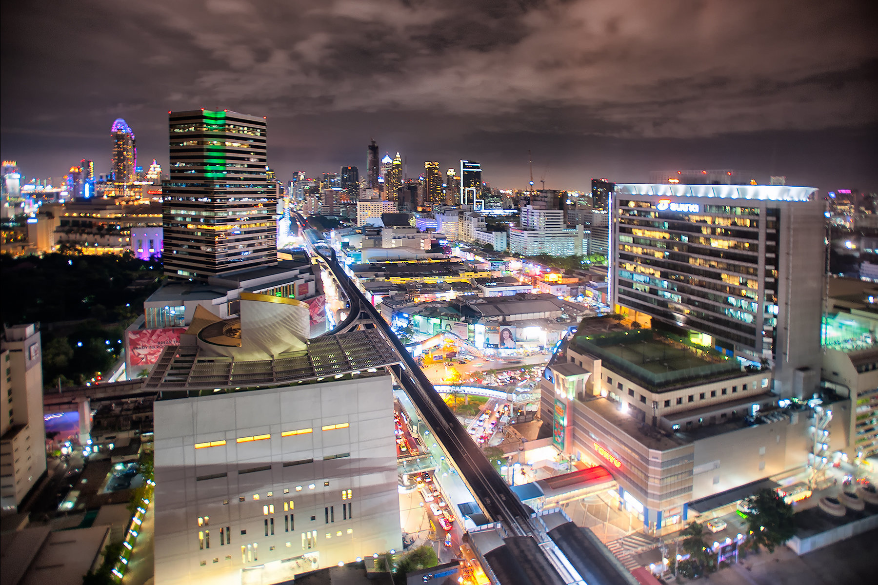 Bangkok, Thailand, aerial view of downtown Siam Square area at night