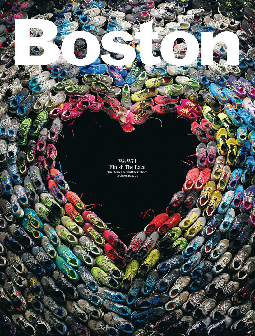 composition created with the sneakers worn during the marathon bombing