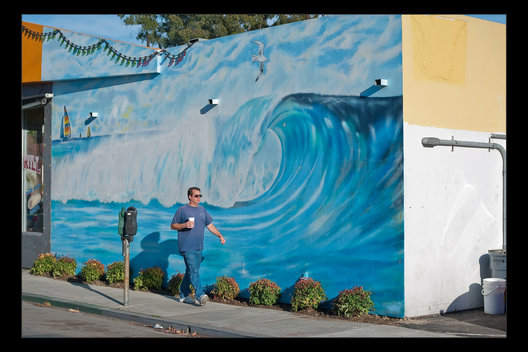 man and mural, Huntington Beach