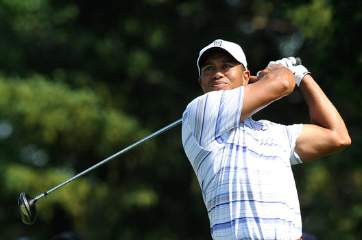 14 August 2009: Tiger Woods finishes a swing during the second round of the 91st PGA Championship at Hazeltine National Golf Club on August 14, 2009 in Chaska, Minnesota.