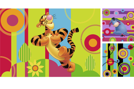 Surface design for a large range of Winnie the Pooh gift packaging and paper goods for older children.