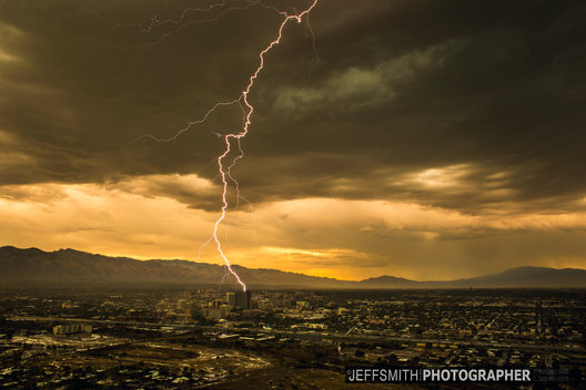 ©Jeff Smith 2015 DownTown Tucson-Az   Tucson #A_mountain #JeffSmithusa #lightning #Downtown_Tucson #Thunderstorm  #Monsoon #Storm