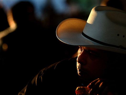 Laredo, Texas Sheriff, Police, department bbq dinner, evening, sunset, cowboy, hat