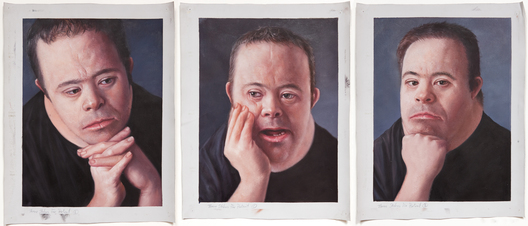 Michael #09-5883,5823,5844          study for head in hands                   3 panels @ 12.25x16.25  oil on canvas, painted in China