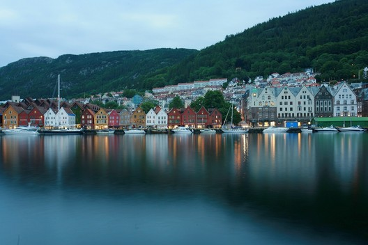 The historic Bergen, Norway, waterfront at dusk around 11 p.m. on a summer day.