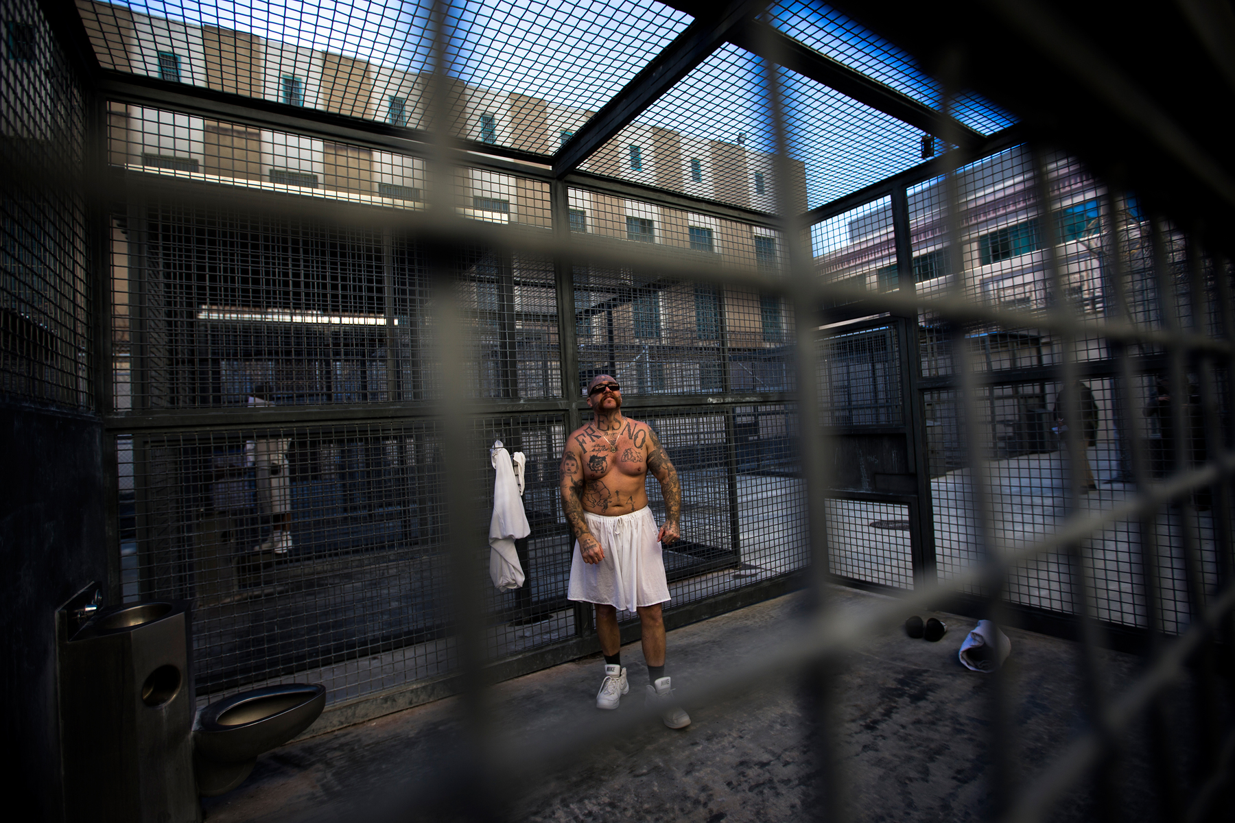 Robert Galvan, who is on death row for murder, exercises at the Adjustment Center