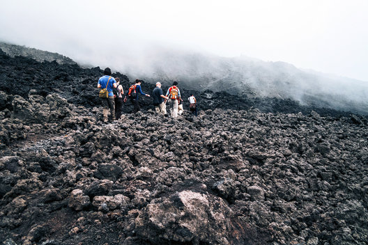 Seaching for lava on Pacaya Volcano, Guatemala