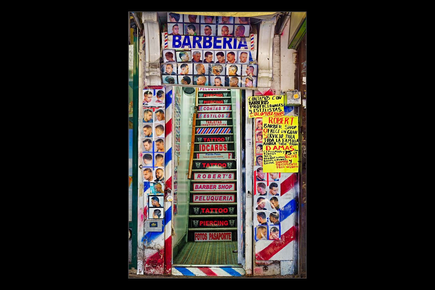 entrance, barber shop, Roosevelt Avenue