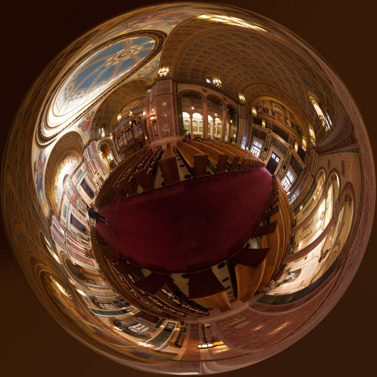 "360 degree stereographic panorama (""little planet"") made from 59 individual images of the Cathedral of St. Matthew in Washington, DC.  Named after Saint Matthew the Apostle, the patron saint of civil servants, the Cathedral of St. Matthew the Apostle in Washington, DC is the seat of the Archbishop of Washington.  Built in 1893 and designed by the notable New York architect, C. Grant La Farge, the cathedral boasts an exquisitely beautiful interior."