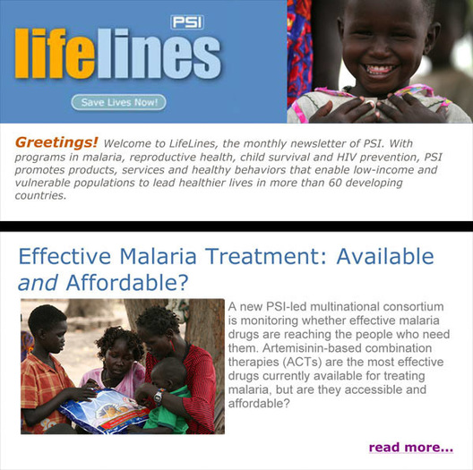 Photos of South Sudan, Title Header and Section Header, Population Services International Newsletter, May 2008 issue