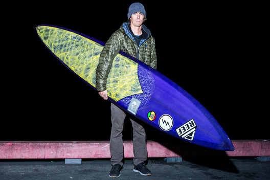 "Rusty Long of San Clemente, California, who rides 9'2"", 9'4"", and 9'6"" boards by Chris Christensen depending on the waves. ""I've been getting boards from Chris for a long time and he has more experience than just about any big-wave shaper these days."""