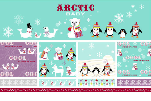 Christmas design elements for an Arctic Winter Wonderland, showing animal characters, icons and pattern. 