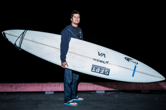 "Alex Martins of Recife, Brazil, who rides a 9'6"" Jeff Clark and 9'10"" Jeff Clark."