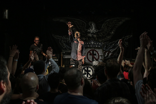 New York, New York/October 4, 2016 - Jay Bentley, bass player and one of the founding members of legendary punk rock band Bad Religion, urges the audience to get out and vote in November at the end of the second of two shows in New York. The band kicked of its Vox Populi tour with Against Me! with an hour and a half set of intelligent fast-paced political punk rock.