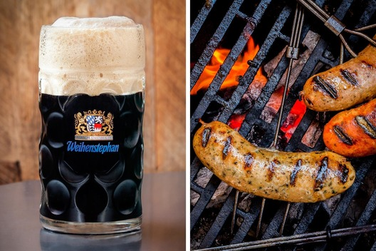 Weihenstephan stien and bratwurst on a hibatchi grill with flames