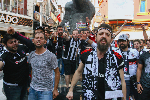 Besiktas Football Club supporters, known as the Carsi, get psyched up ahead of a match against their fiercest rivals, Fenerbahce in Istanbul. The leaders of the Carsi were prosecuted by the Turkish government for their role in staging anti-government protests at Gezi Park in 2013.