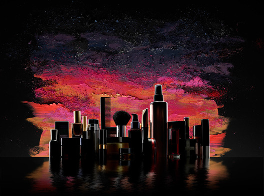 skyline and background created with cosmetics