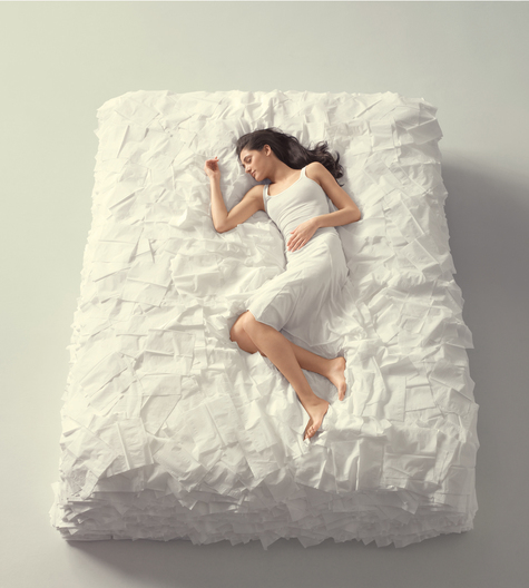 bed made of tissues