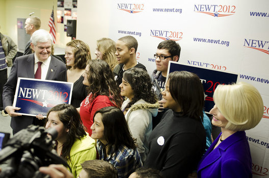 Newt Gingerich supporters rally at the Gingerich campaign headquarters.