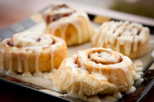 Cinnamon rolls on a platter. Food photography by Chad Jackson