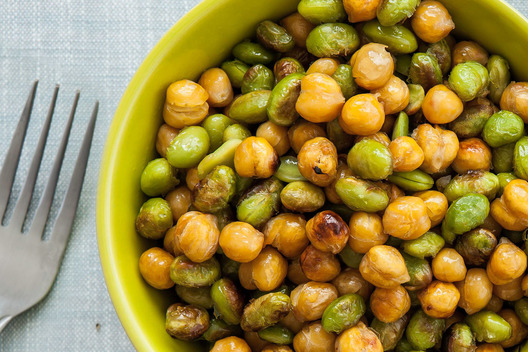 Roasted edamame and chick peas in a bowl