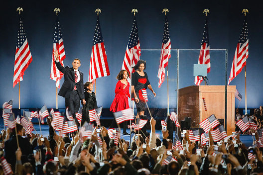 President-elect Barack Obama, wife Michelle, daughters: Malia & Sasha take the stage in Chicago ©2008