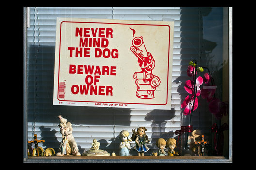 warning sign and knicknacks, San Pedro