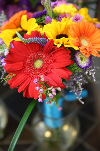 colorful wedding flowers in a vase