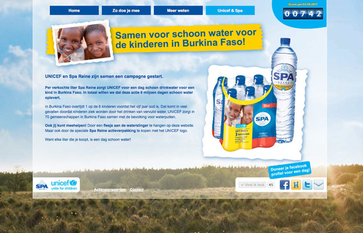Photograph used in a campaign developed by Backbone Marketing for Spa, the Dutch mineral water brand, and UNICEF.  This is the second year of a project to give children in Burkino Faso clean water.  During the 9-week campaign, every liter of Spa purchased by the consumer in the Netherlands helps the children in Burkino Faso, through a donation from Spa to UNICEF.  The photograph was used on 600,000 Spa water bottle sleeves, various point of sale materials, and the campaign website.  The photograph depicts two Fulani children in Djibo in northern Burkina Faso.  The Fulani are traditionally nomadic pastoralists, and each of the children received one cow for the use of their photograph.  Cattle provide an additional protein source (milk) during the rainy season, and will eventually reproduce and build wealth for the children.