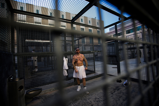 Robert Galvan, who is on death row for murder, exercises at the Adjustment Center yard during a media tour of California's Death Row at San Quentin State Prison in San Quentin, California December 29, 2015.